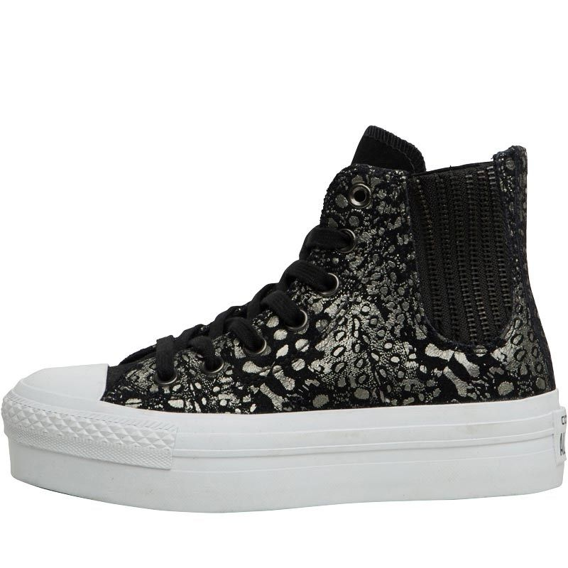 0a75448a74aa Converse Womens CT All Star Hi Platform Chelsea Trainers Black Metallic  White