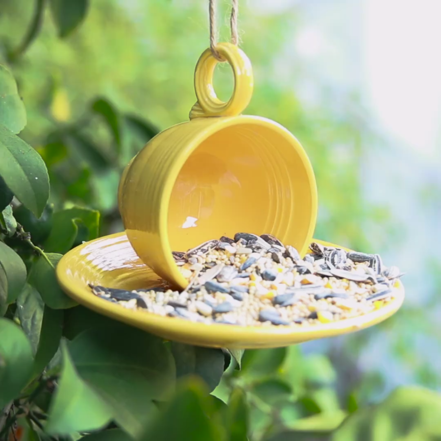 Here Is How To Create Your Own Teacup Bird Feeder is part of Tea cup bird feeder, Bird feeders, Diy birds, Garden crafts, Crafts, Birds - Chirp, chirp, chirp