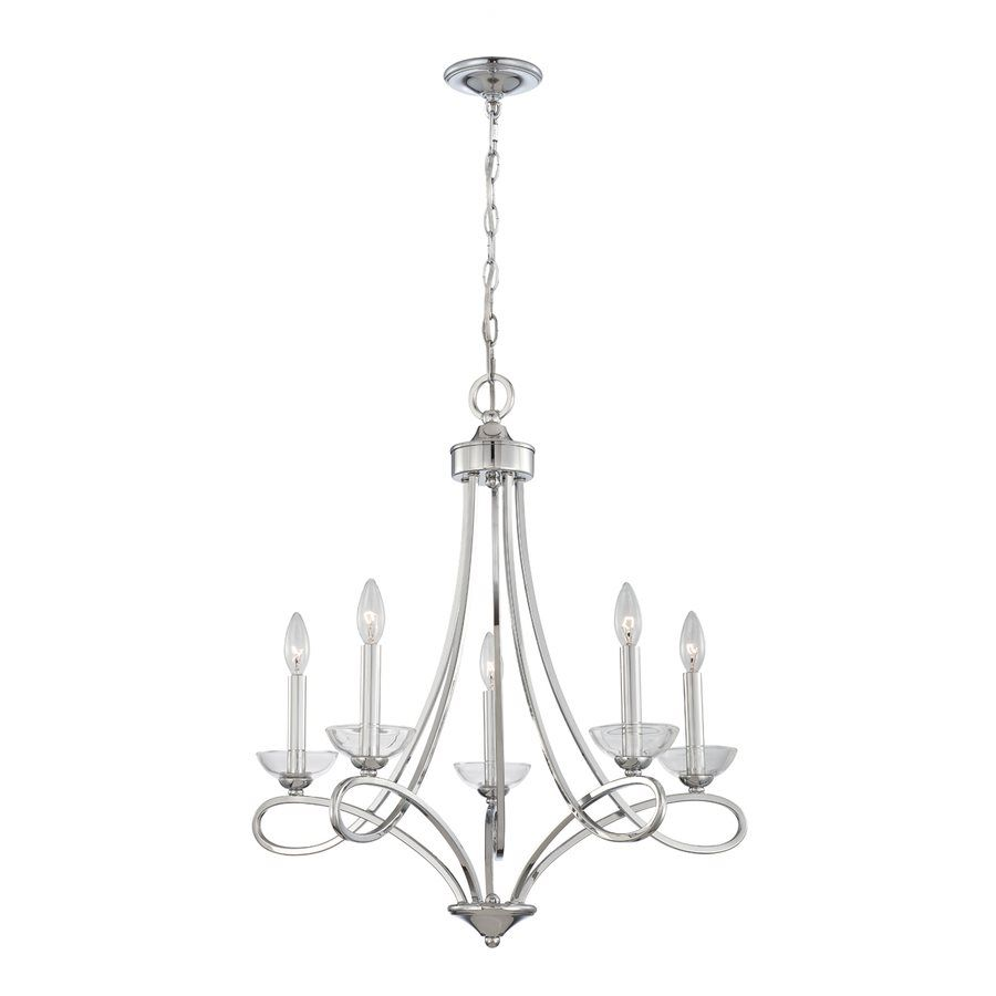 eurofase 5-light chrome hardwired standard chandelier | lowe's
