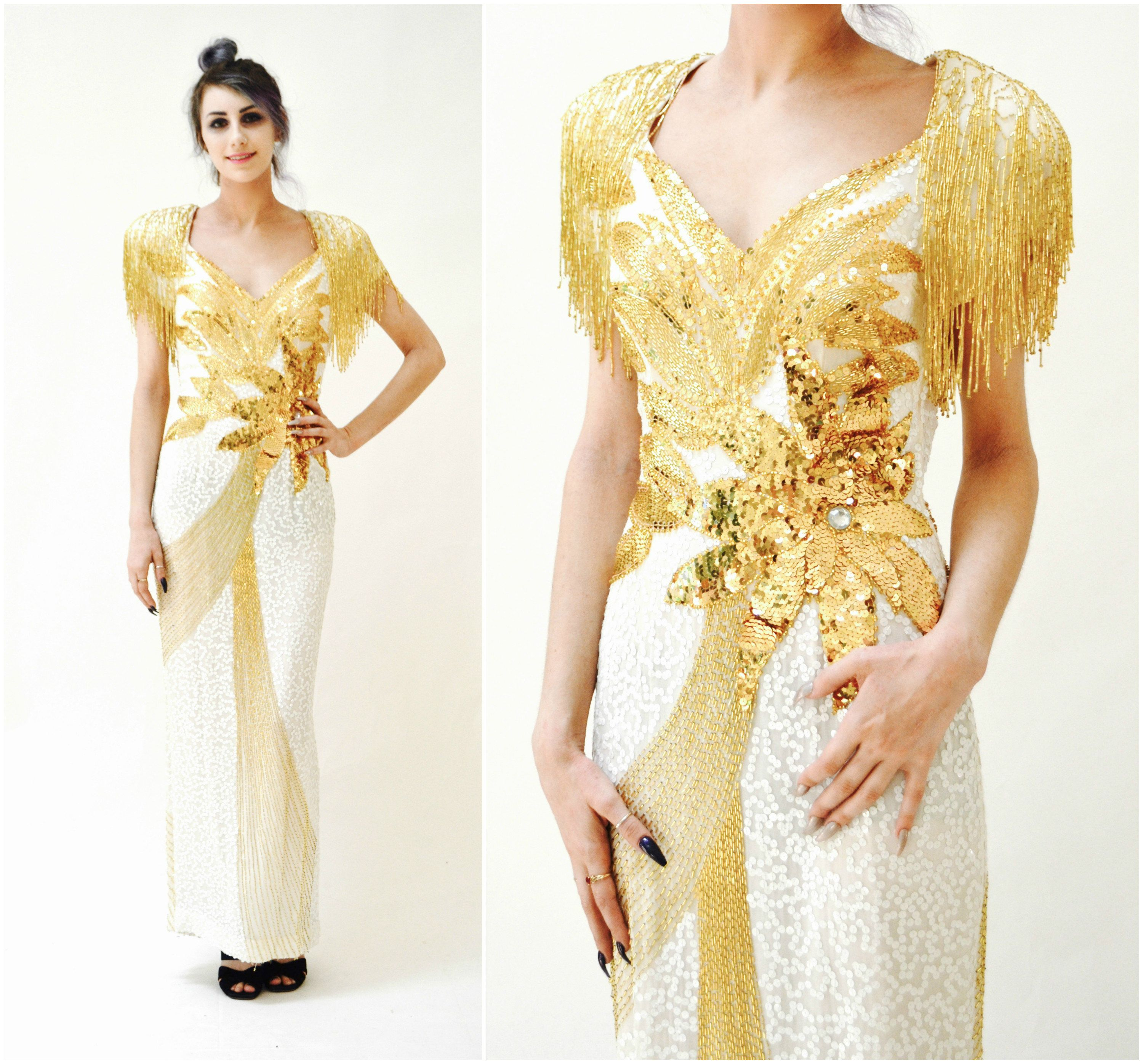 Vintage White and Gold Sequin Gown Dress Fringe Small Medium// 80s ...