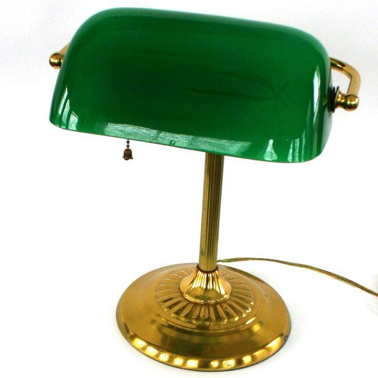 Vintage Bankers Lamp Br Gl Kelly Green By Rhapsodyattic