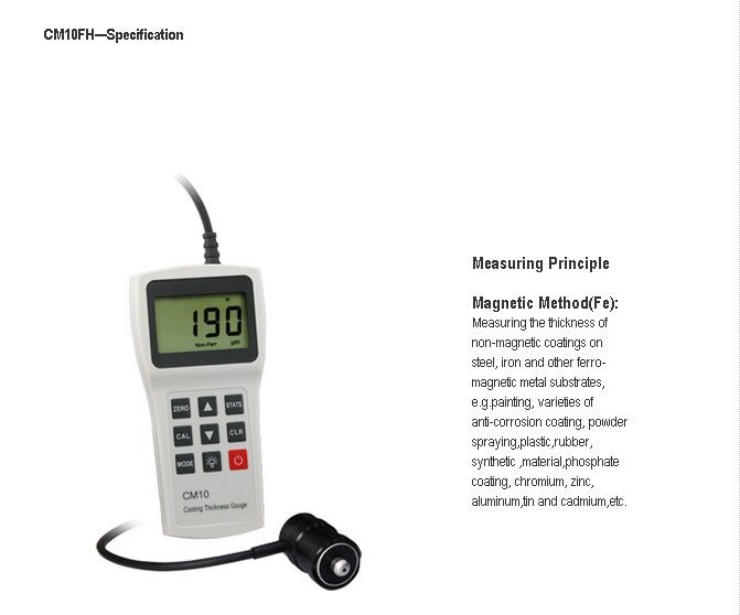 Freight FREE - Free shipping of EMS DHL Fedex CM10FH Coating Thickness Gauge Meter Tester 0-10000um CM-10FH