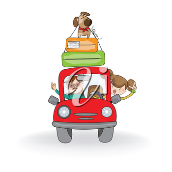 iclipart clipart illustration of a man and woman going on their summer vacation in a car. Black Bedroom Furniture Sets. Home Design Ideas