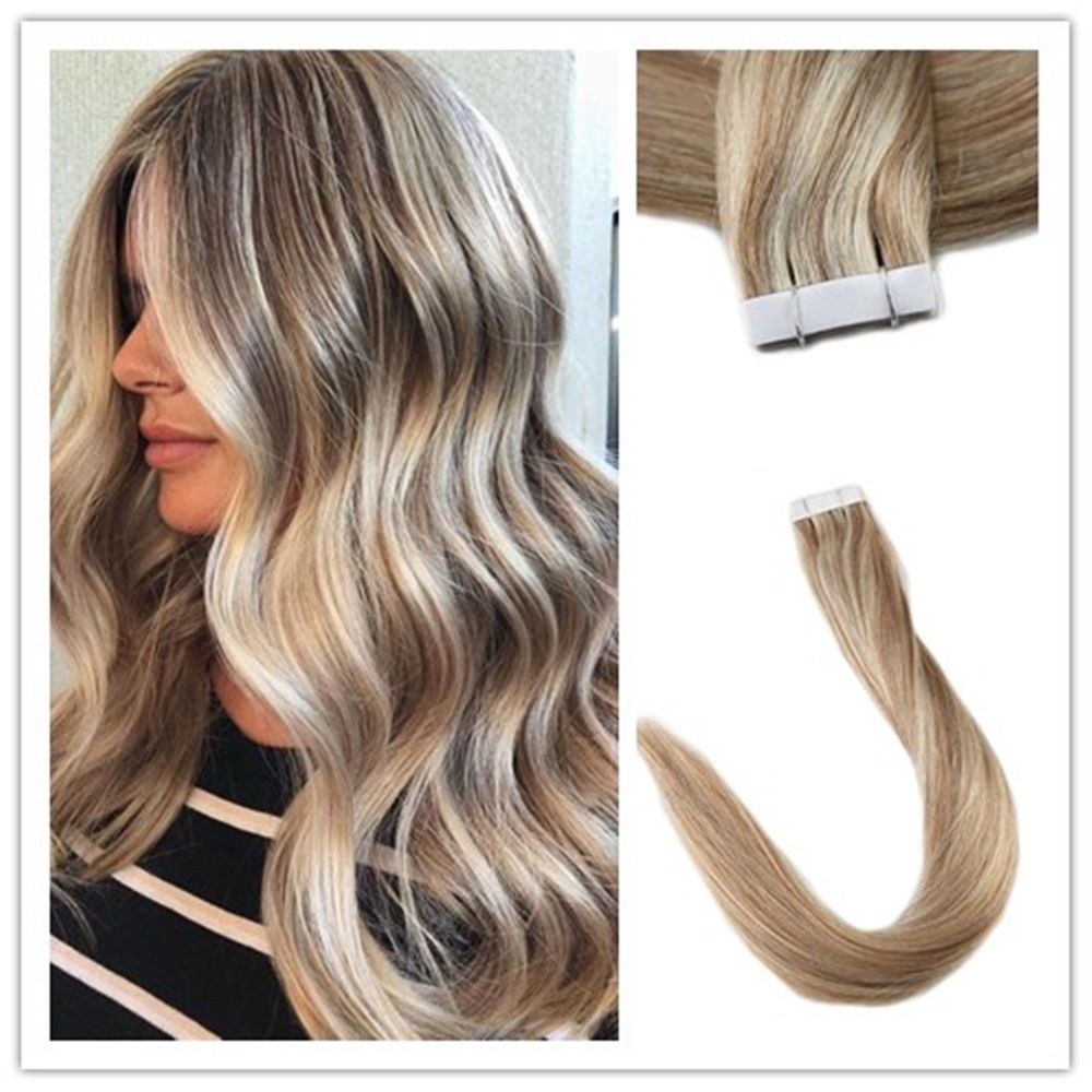 Full Shine Hair Extensions Real Hair Pu Tape In Straight Hair Blonde