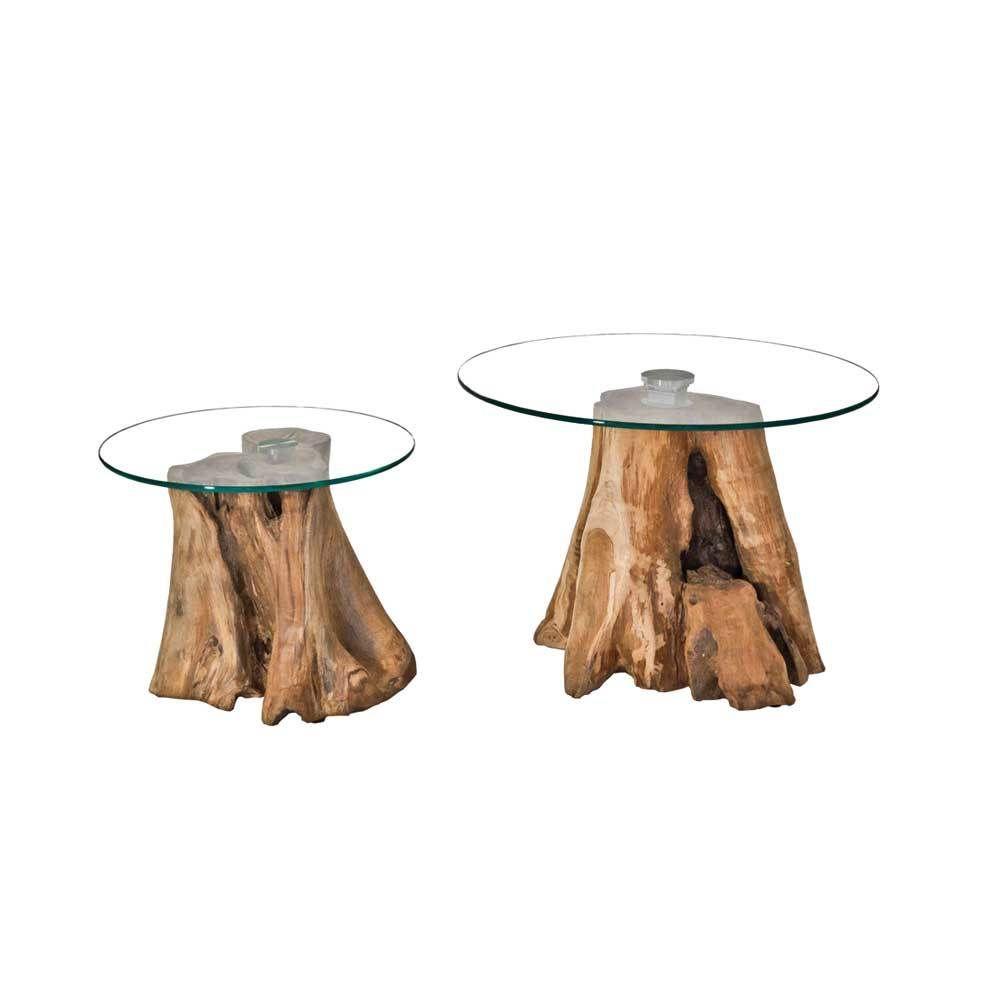 Beistelltisch Set mit Baumstupf runde Glasplatte (2-teilig) Jetzt ...