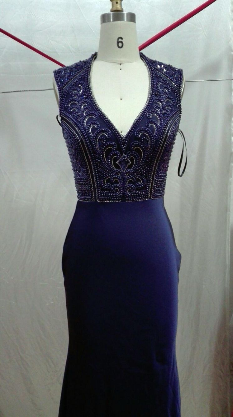 Navy heavy beaded dress with a long train worldwide shipping