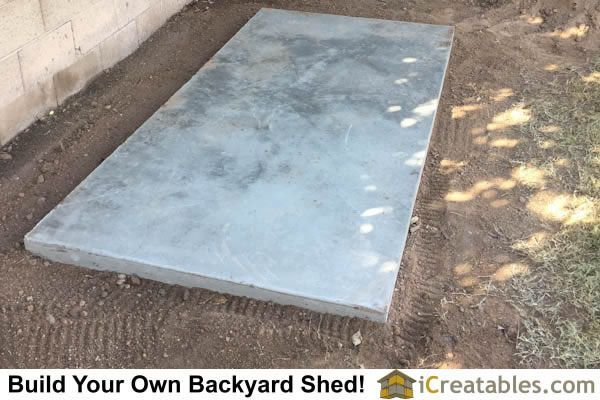 Storage Shed Floor Concrete Slab Curing And Ready To Frame Shed Walls Shed Floor Shed Plans Diy Storage Shed