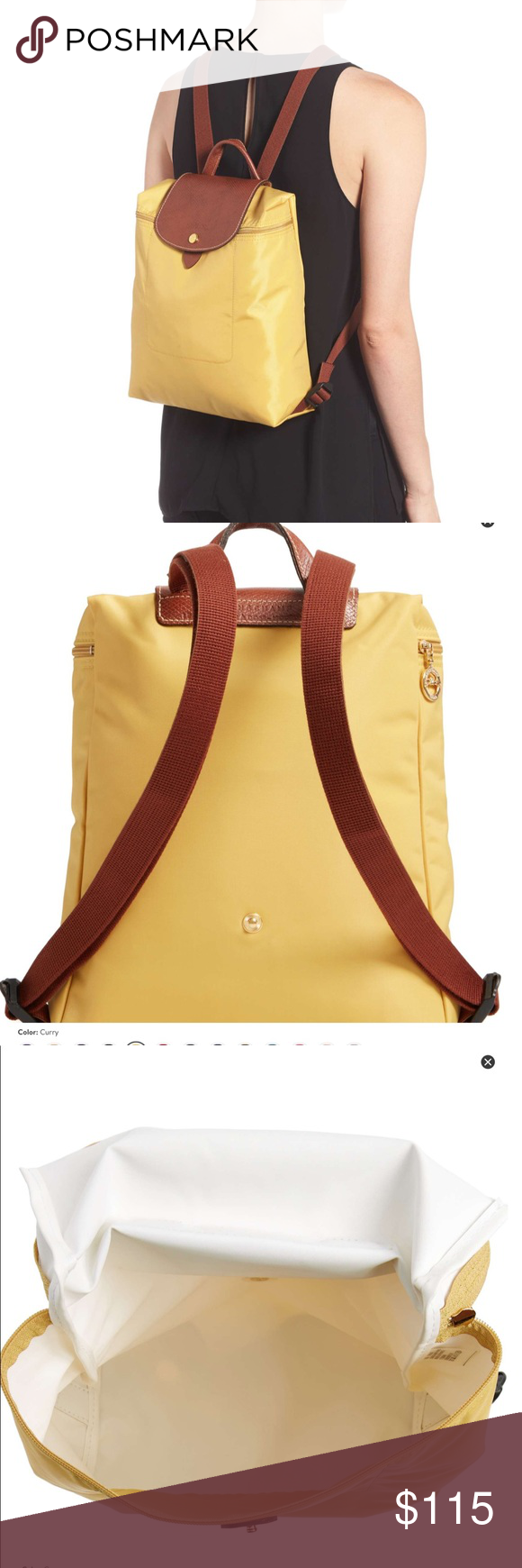 f73d3fd07faa Longchamp le Pliage backpack in curry Cute longchamp le Pliage backpack in  curry color. Brand new from harrods of London! Longchamp Bags Backpacks