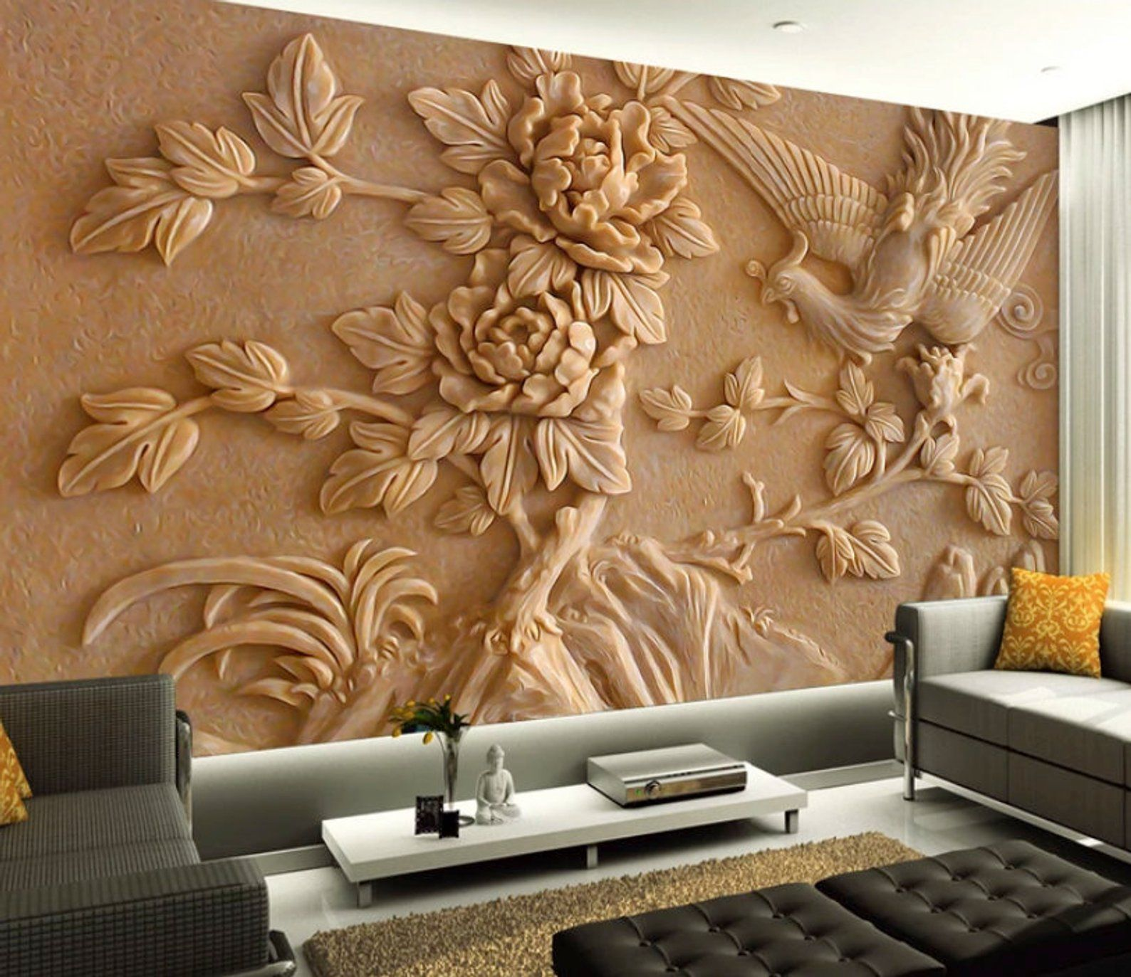 3D Embossed Floral Wallpaper Cement ...