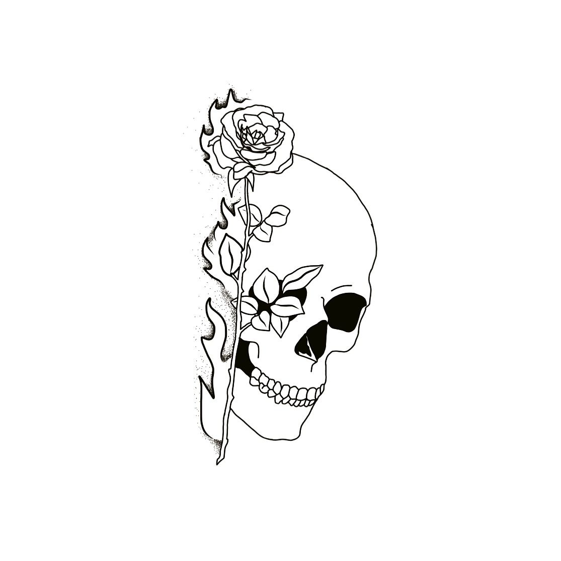 Amazing Tattoo Flash Design By Bobs Tattoos Skull And Rose Tattoo Stencil Outline Tattoo Outline Drawing Flash Tattoo Designs