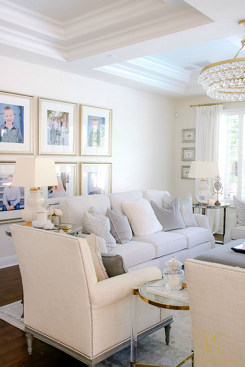 Transitional Family Room Reveal   White couches, Gallery wall and ...
