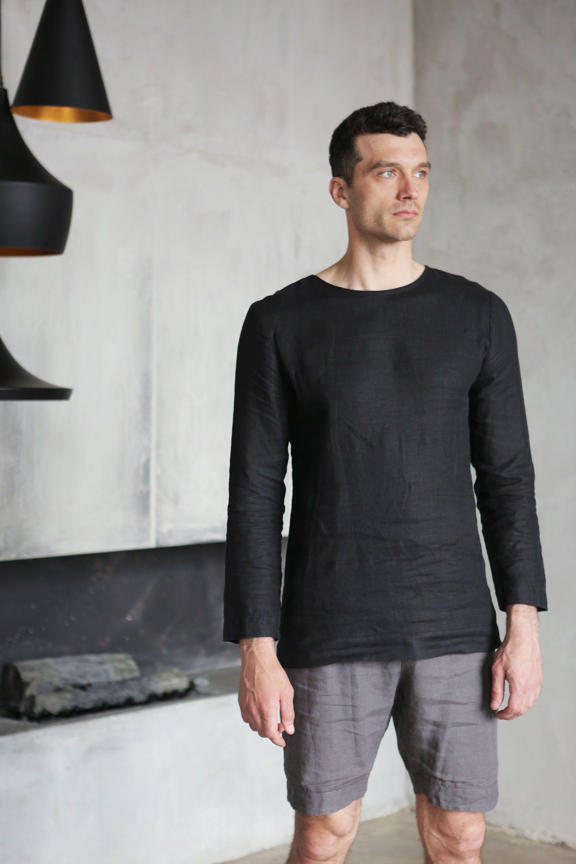 Mens Linen T Shirt Long Sleeve Shirt For Men Mans Relax Etsy Winter Outfits Men Linen Shirt Men Linen Tshirts