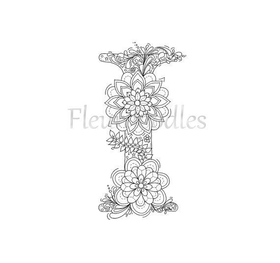 adult coloring page - floral letters, alphabet I, hand lettering ...