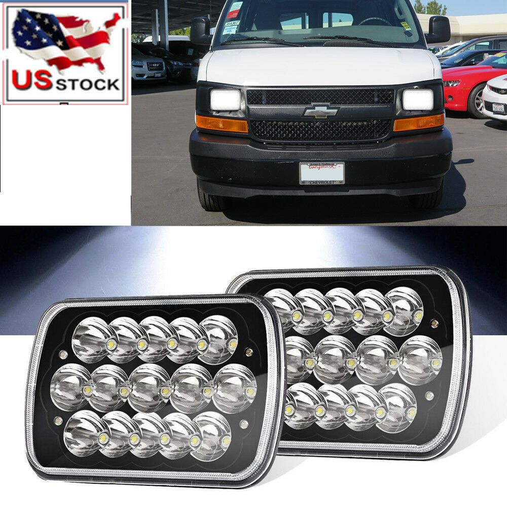 2x 7x6 Black Led Headlight For Chevy Express Cargo Van 1500 2500