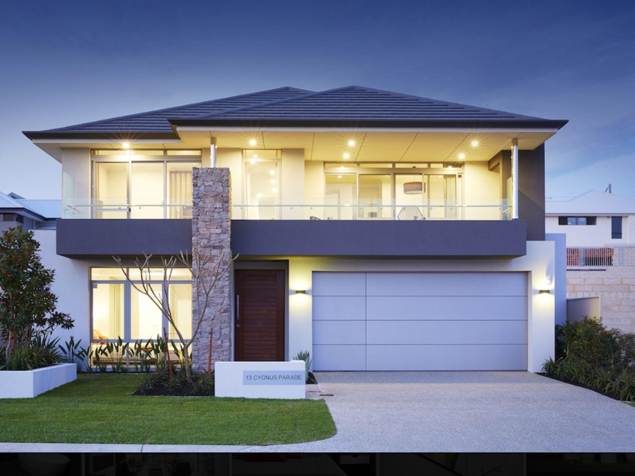 Two Storey Facade Dark Grey Roof Stone Feature Balcony