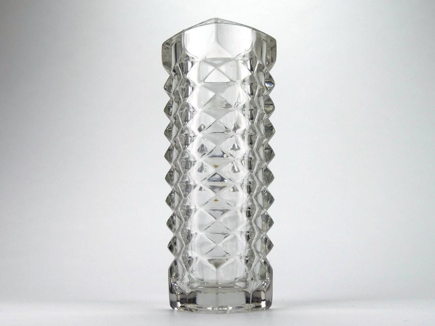 Vintage bohemian clear glass vase by jiri zejmon pressed glass glass vintage bohemian clear glass vase reviewsmspy