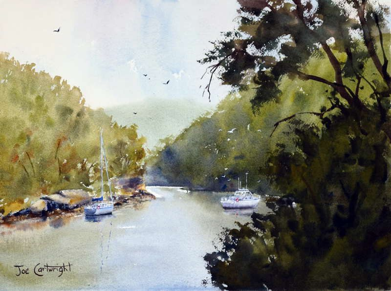 Berowra Waters afternoon plein air watercolor painting of boats and green hillsides covered in trees.