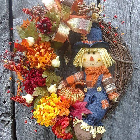 Fall Wreath, Fall Grapevine, Scarecrow Wreath