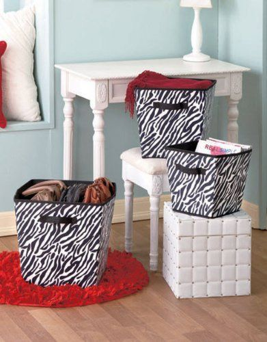 Merveilleux 3 Piece Set Zebra Black White Animal Print Nesting Foldable Storage  Organizer Bin Basket Set Home Accent Organization Laundry Bedroom Bathroom  Accessories ...