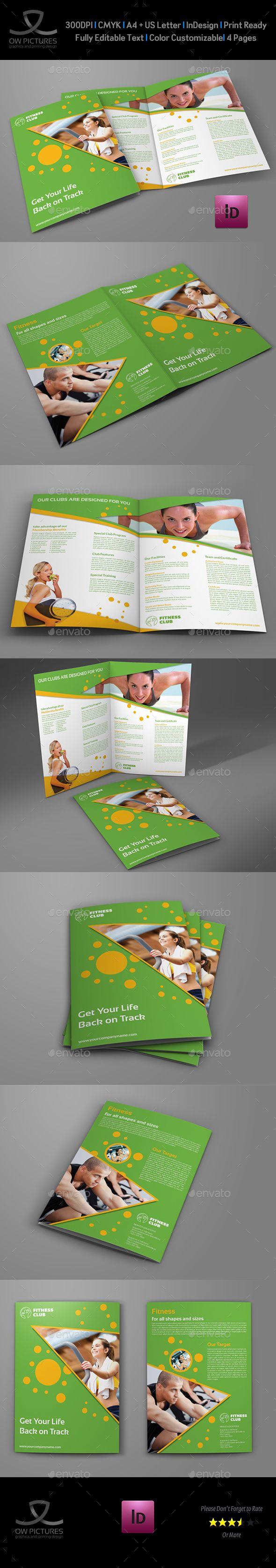 Fitness  Gym BiFold Brochure Template  Brochure Template
