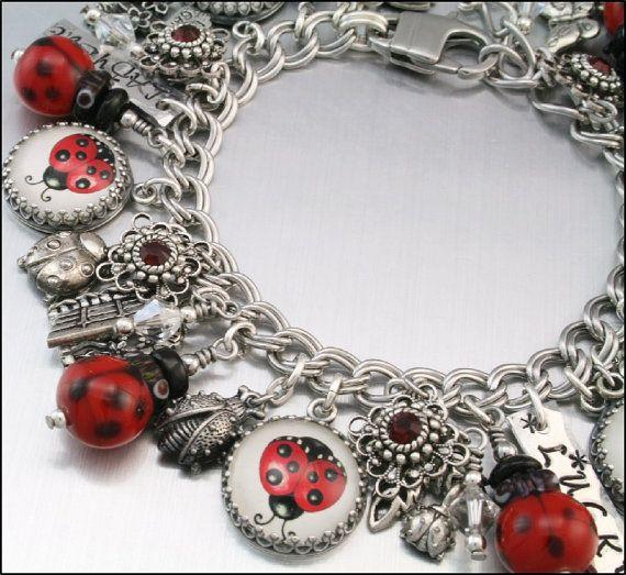 Ladybug Charm Bracelet Silver By Blackberrydesigns 87 00
