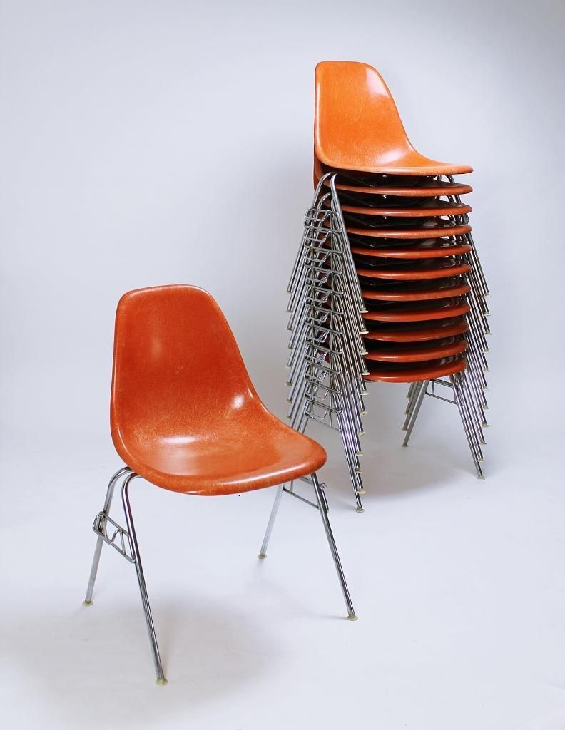 Vintage Vitra Authentic Eames Fiberglass Stacking And Ganging Chairs Fiberglass Dss Stacking Chair By Ray Charles Eames Oggetti