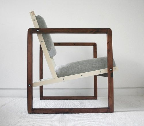 A reproduction of Josef Albers' armchair from 1928, the