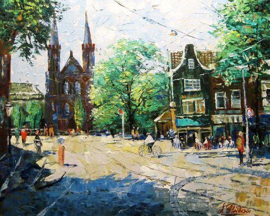 "Shwidkiy Andrey, ""Spui Markt In the Morning. Amsterdam"""