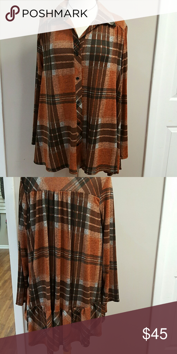 Plus size plaid button up with ruffle hem Plus size plaid button up with ruffle hem Tops Button Down Shirts