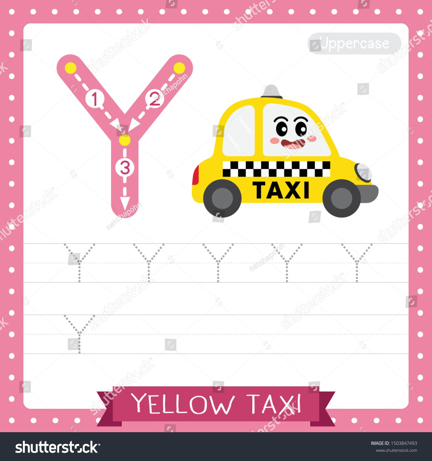 Letter Y Uppercase Cute Children Colorful Transportations