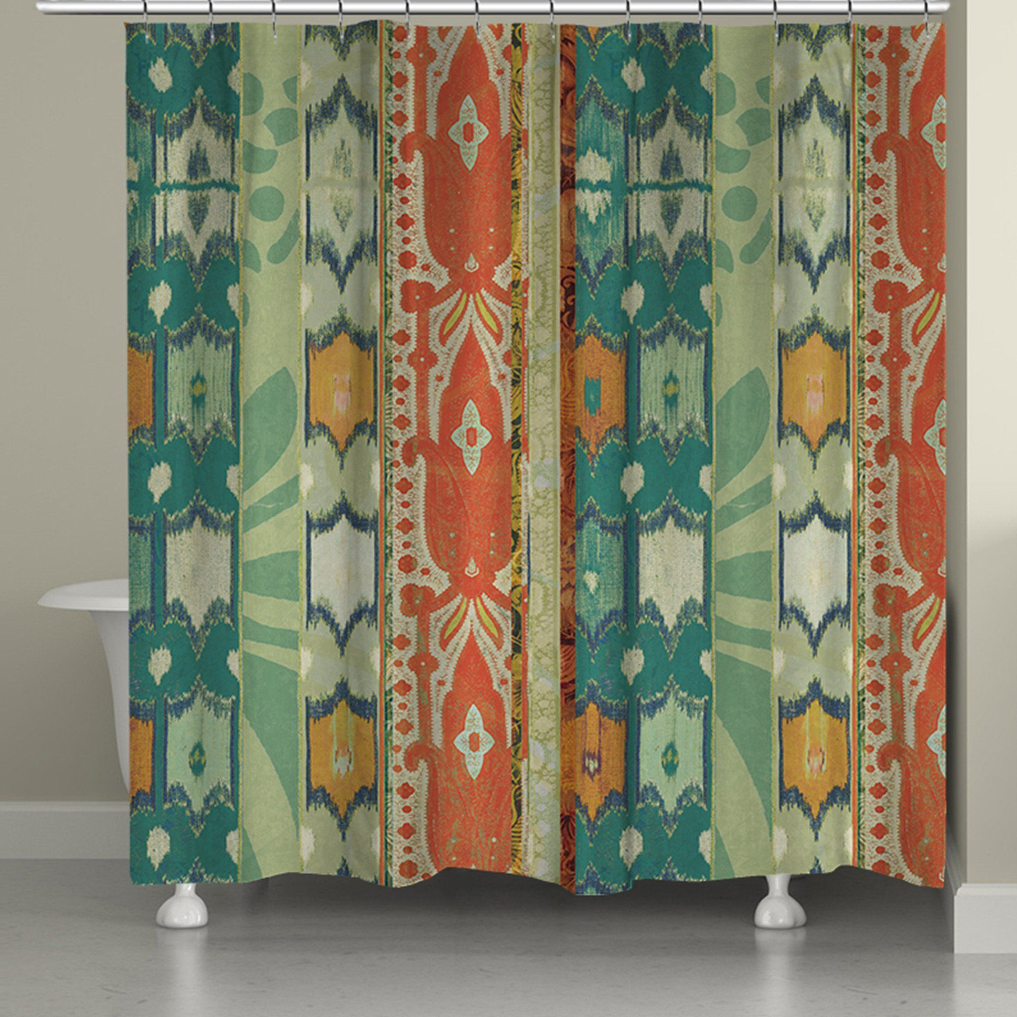Ikat Bloom Shower Curtain is part of Bohemian Home Accessories Ideas - A unique and interesting pattern with soft shades of blue, green and orange  Guaranteed to brighten any bathroom decor   All of our products are digitally printed to create crisp, vibrant colors and images  Made to order in the USA, with you in mind  Printed on imported fabric  Please allow 57 days for items to ship