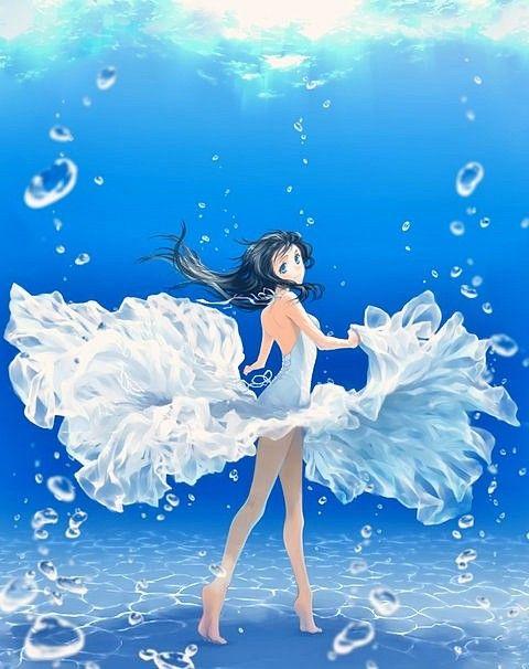 Bien-aimé fille sous l'eau avec une robe blanche | manga | Pinterest | Manga GT53