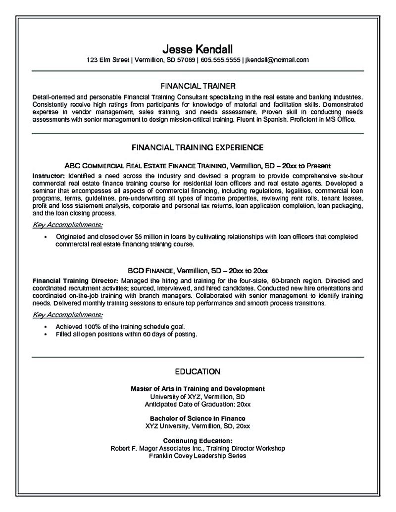 Personal trainer resume should explain an expertise area