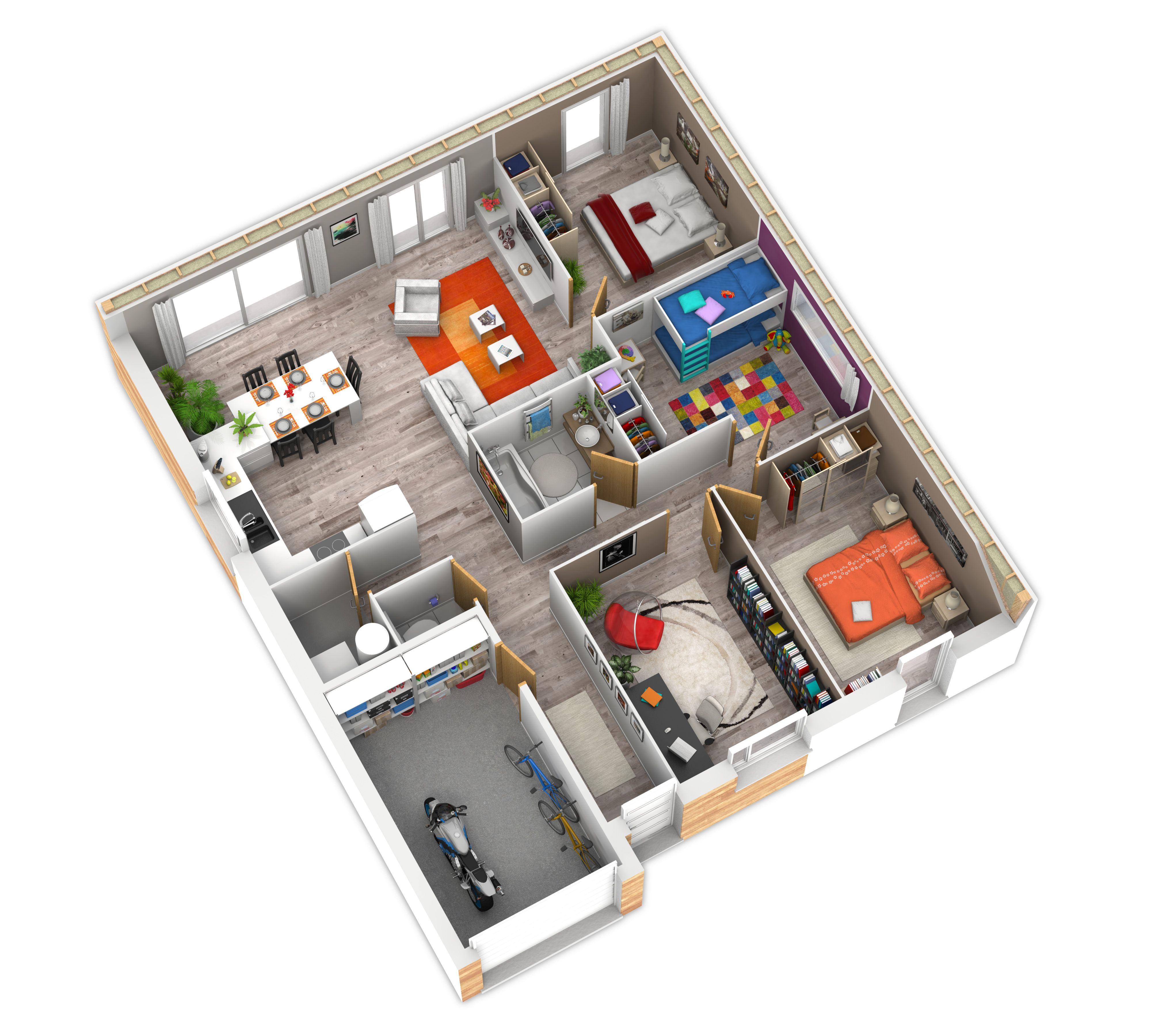 Plan int rieur plein pied container et plans de maison for Maison plan 3d