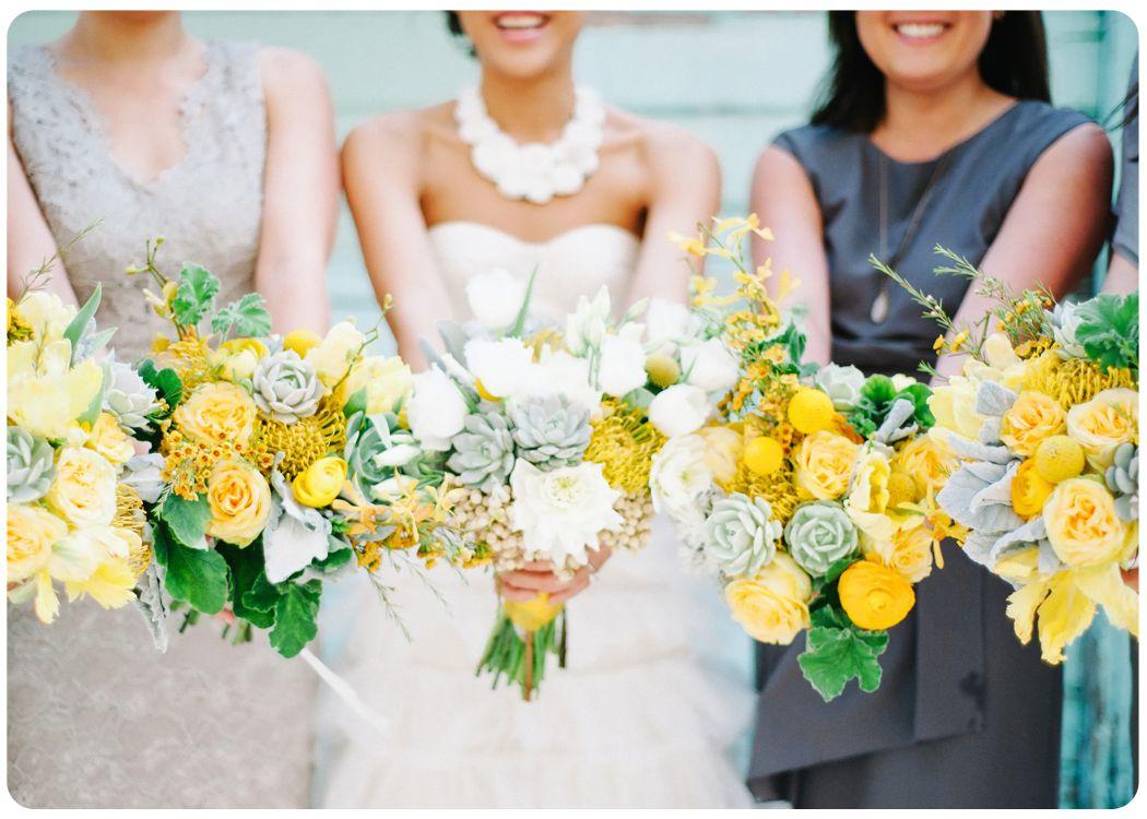 Yellow And Grey Wedding Bouquets Floret Cadet Yellow Wedding