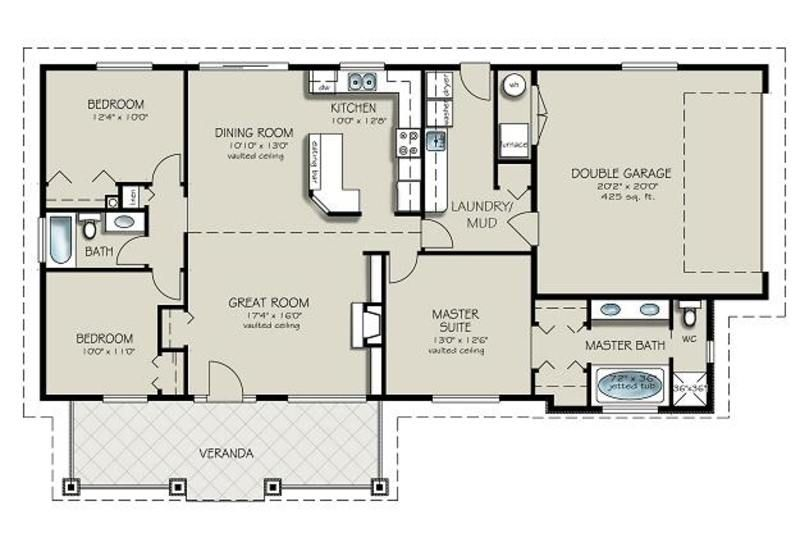 Ranch Style House Plan   3 Beds 2 Baths 1493 Sq/Ft Plan #427