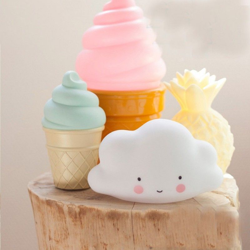 Cute Mini Lamps White Cloud Led Night Light With Timer Kids