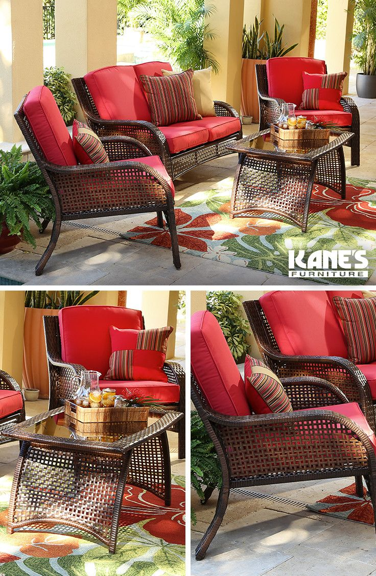 fddd5eb84 Bask in the summer sun on an outdoor set perfectly styled for the season!  Select patio furniture crafted in bold and bright colors such as red