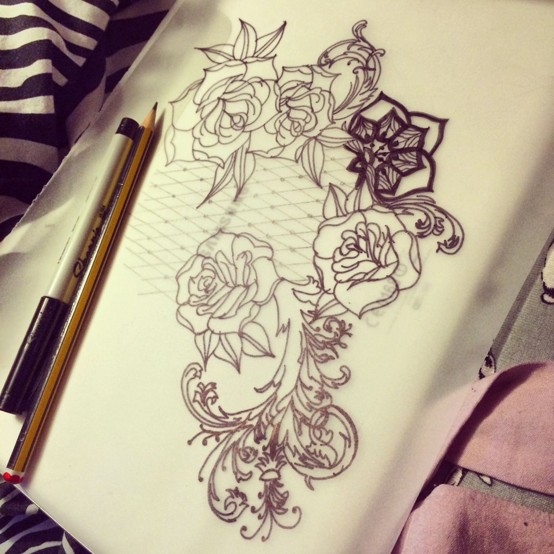 black grey rose lace filigree tattoo extension to existing one tatts pinterest. Black Bedroom Furniture Sets. Home Design Ideas