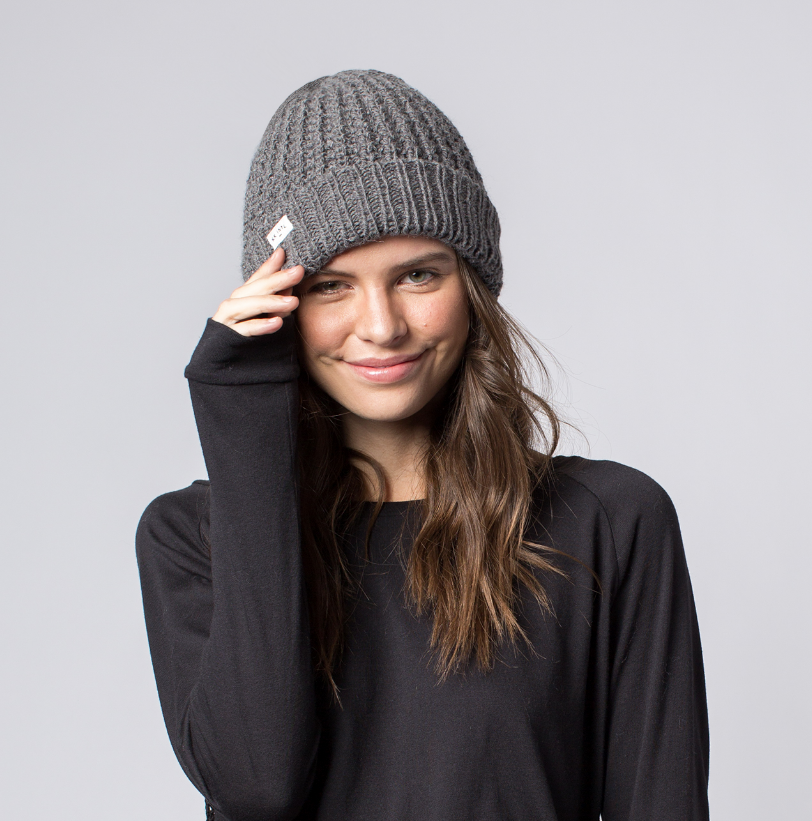 fair trade winter hat Soft grey knit women/'s beanie  slouchie hat