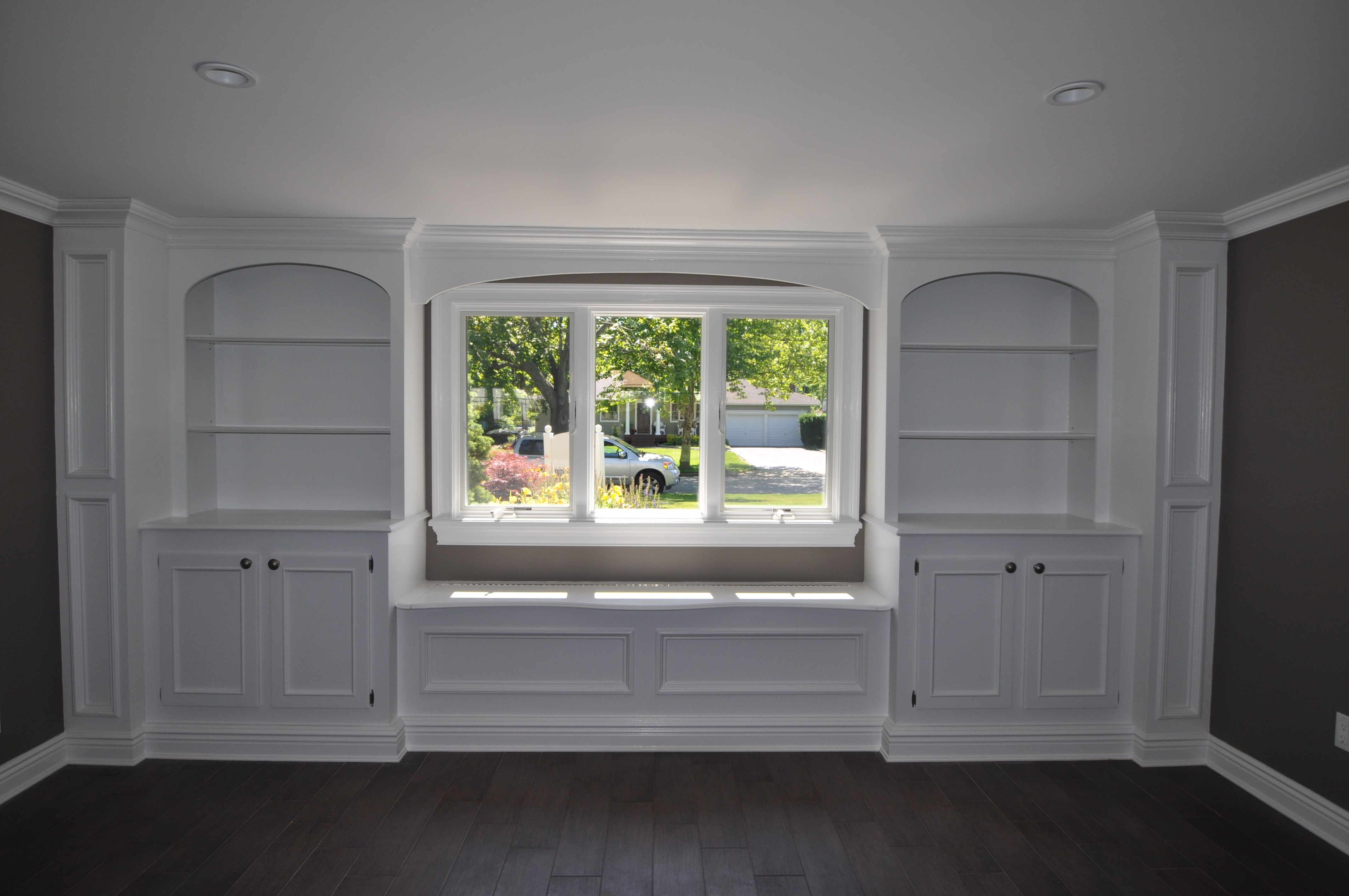 Custom Built-In with Window Seat with Storage and Glass ...