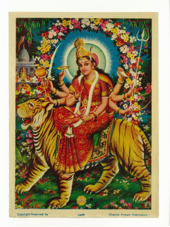 Vintage-style Indian devotional print Durga ..