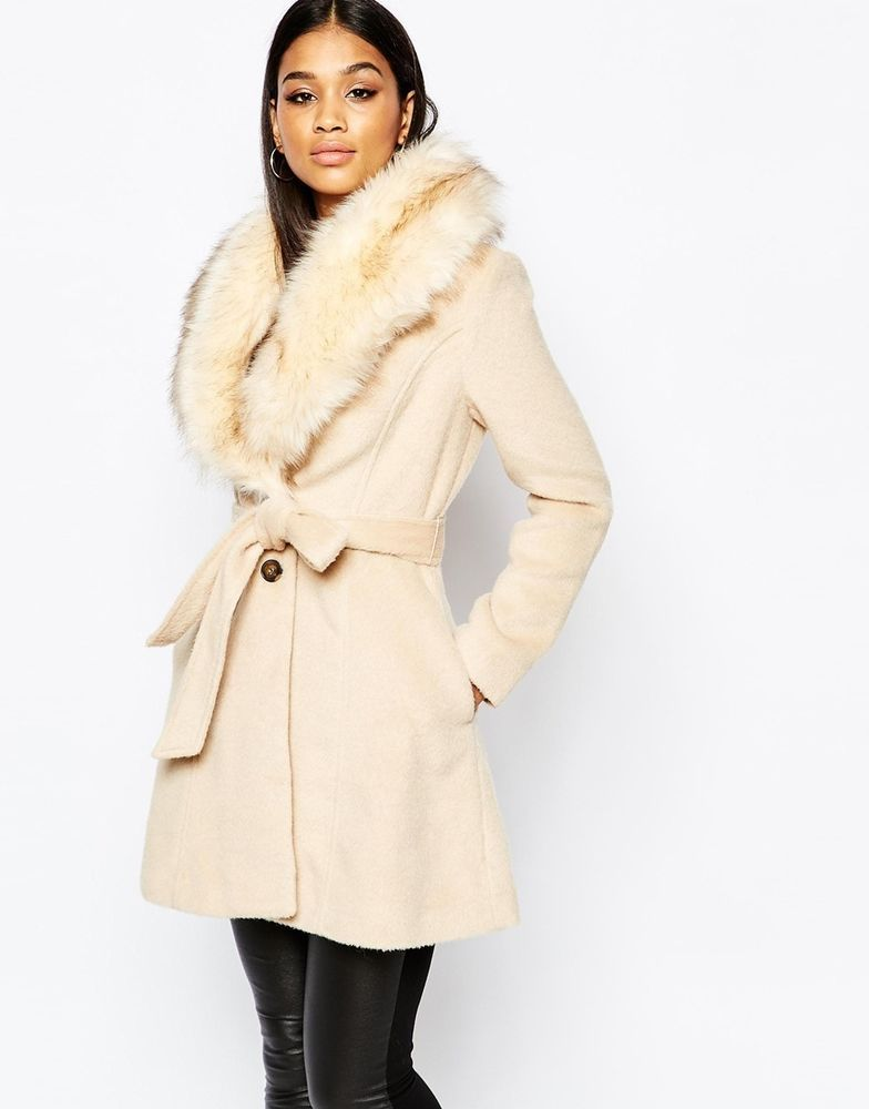 26c1d3aeb0473 Michelle Keegan Loves Lipsy Coat With Faux Fur Collar in Camel UK 14/EU  40/US 10