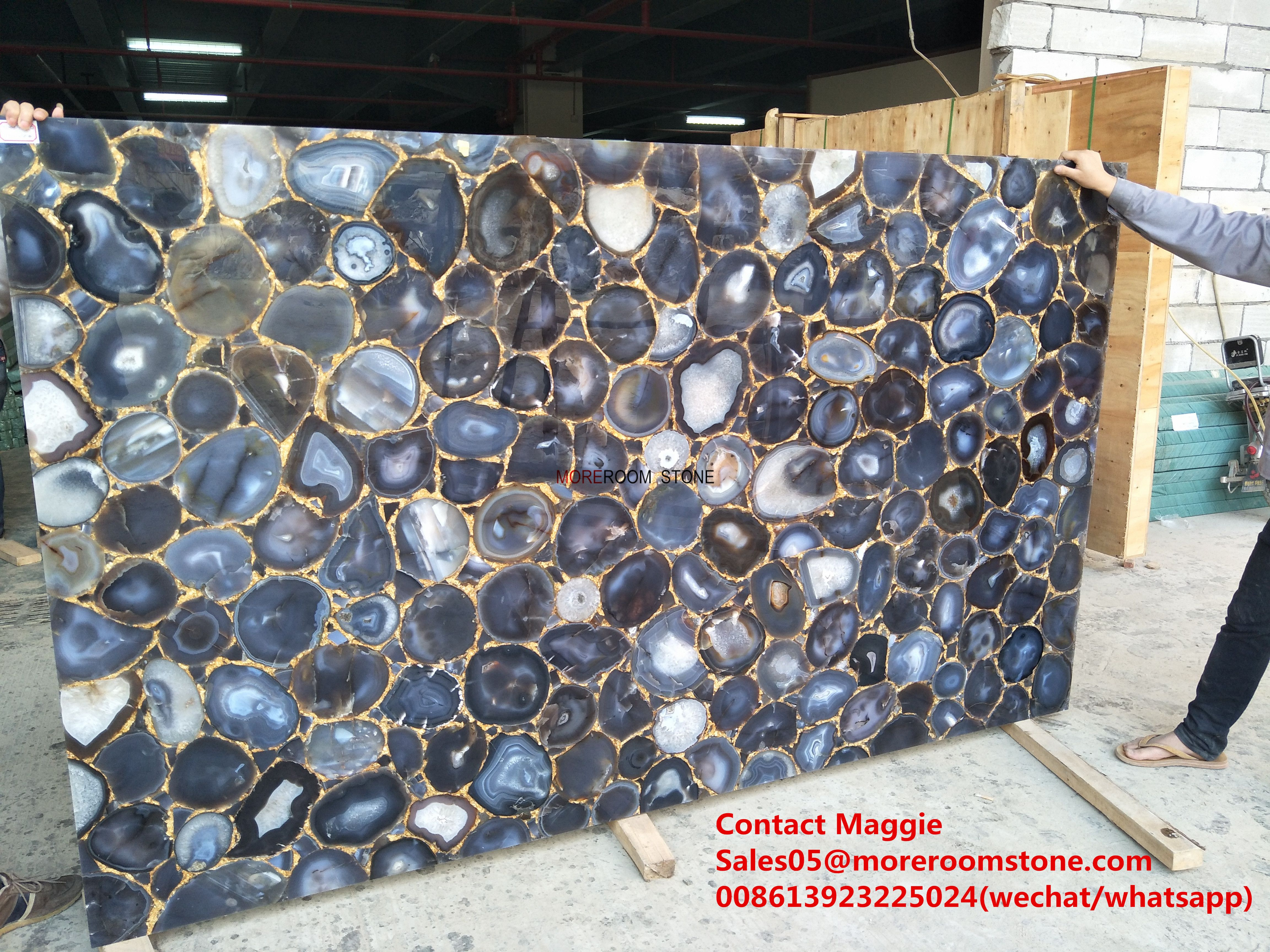 Grey Agate Slab Semi Precious Stone Natural For Wall And Countertop