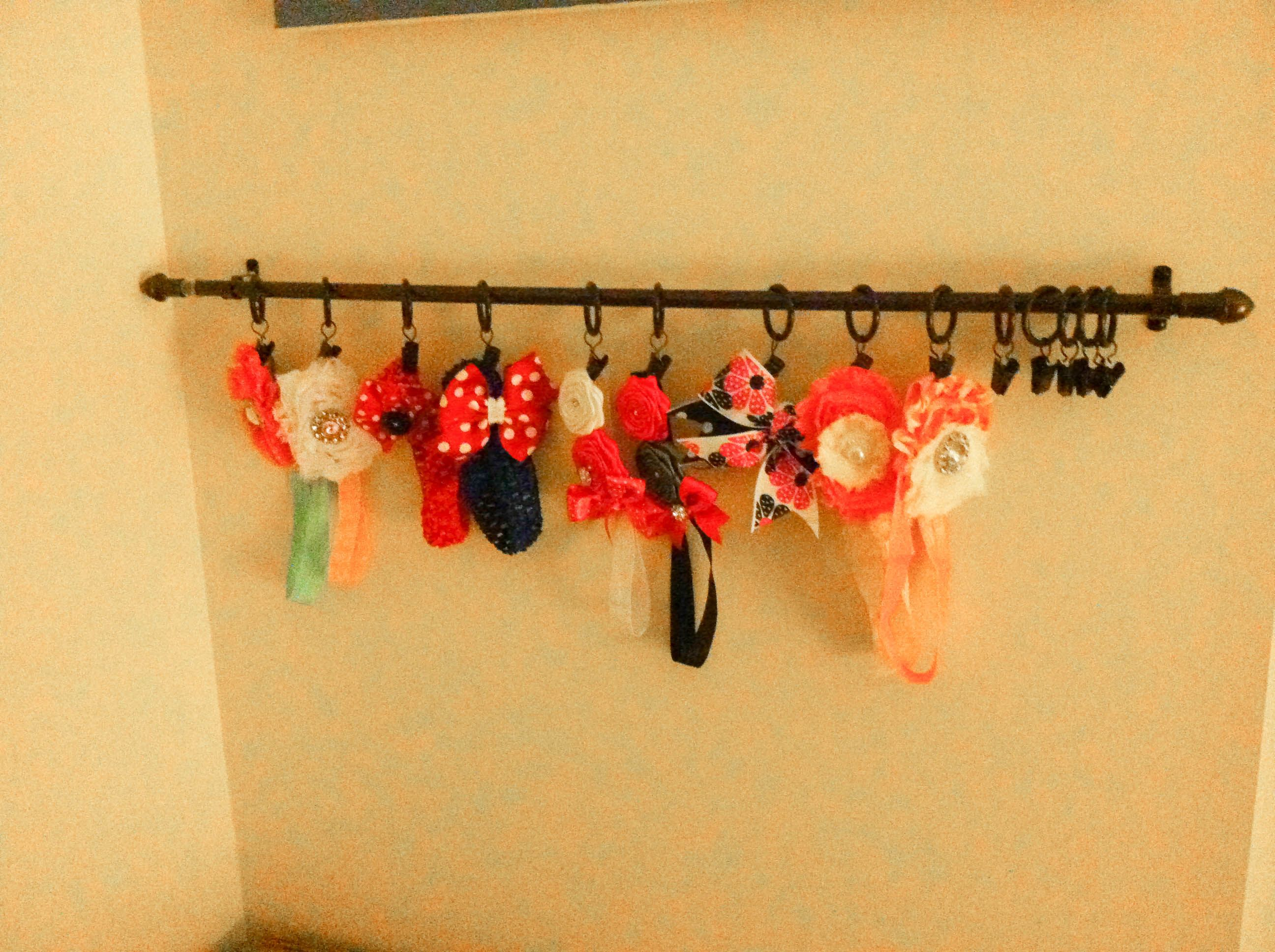 Curtain Rod To Hang Baby S Headbands And Bows Childrens Decor
