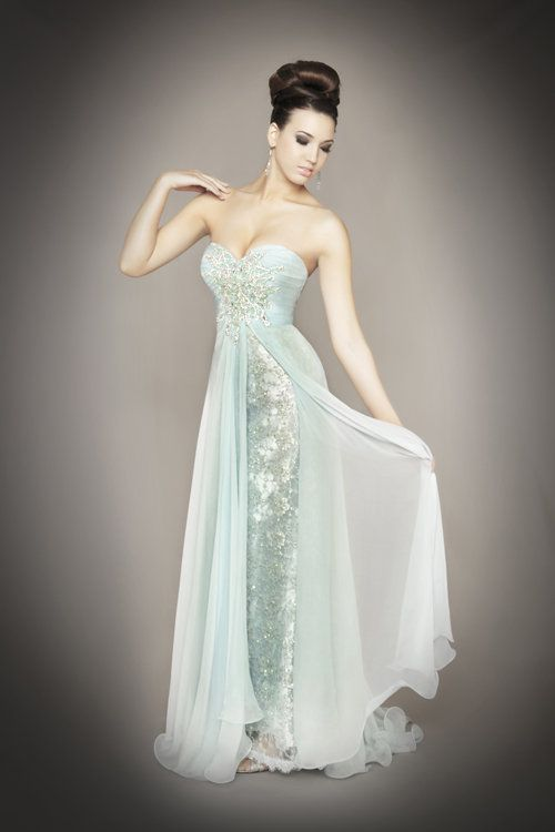 Pinner says: Ice Blue Chiffon & Lace Embellished Strapless ...