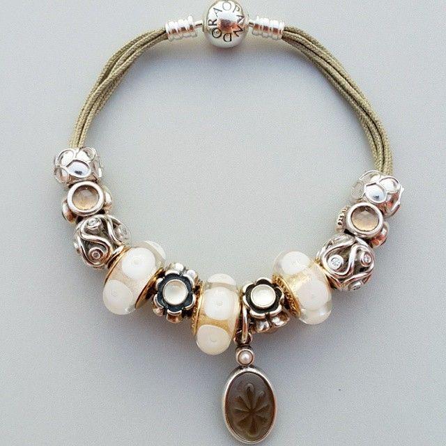 pandora khaki multi strand bracelet with gorgeous gold and