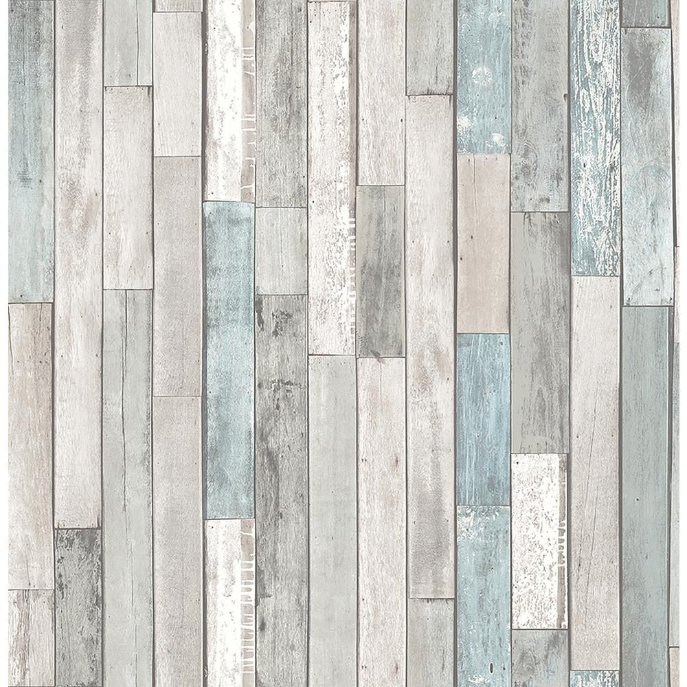 Brewster Barn Board Grey Thin Plank Wallpaper Sample Wallpaper