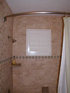 Shower windows and vinyl shutters give full privacy and water proof benefit home d cor for Bathroom window treatments privacy
