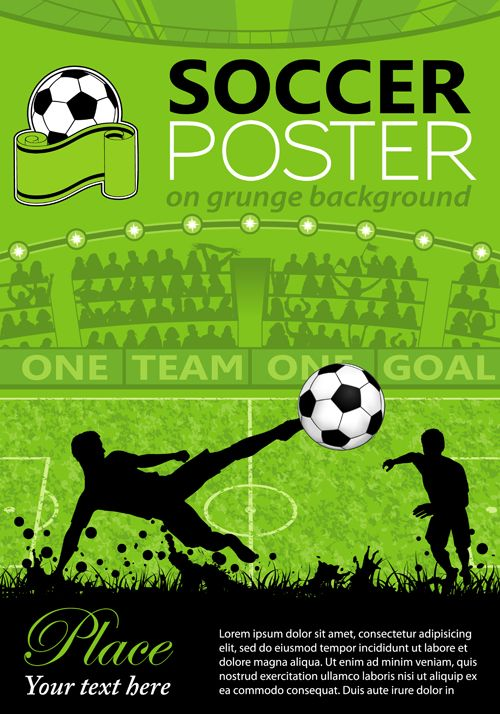Delicate Soccer Poster Background Vector Graphics 01